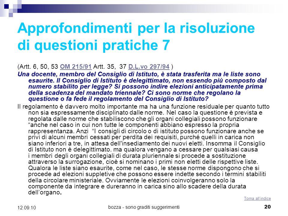 Approfondimenti per la risoluzione di questioni pratiche 7