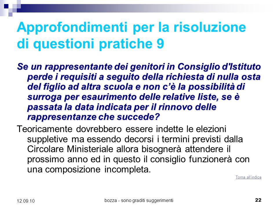 Approfondimenti per la risoluzione di questioni pratiche 9
