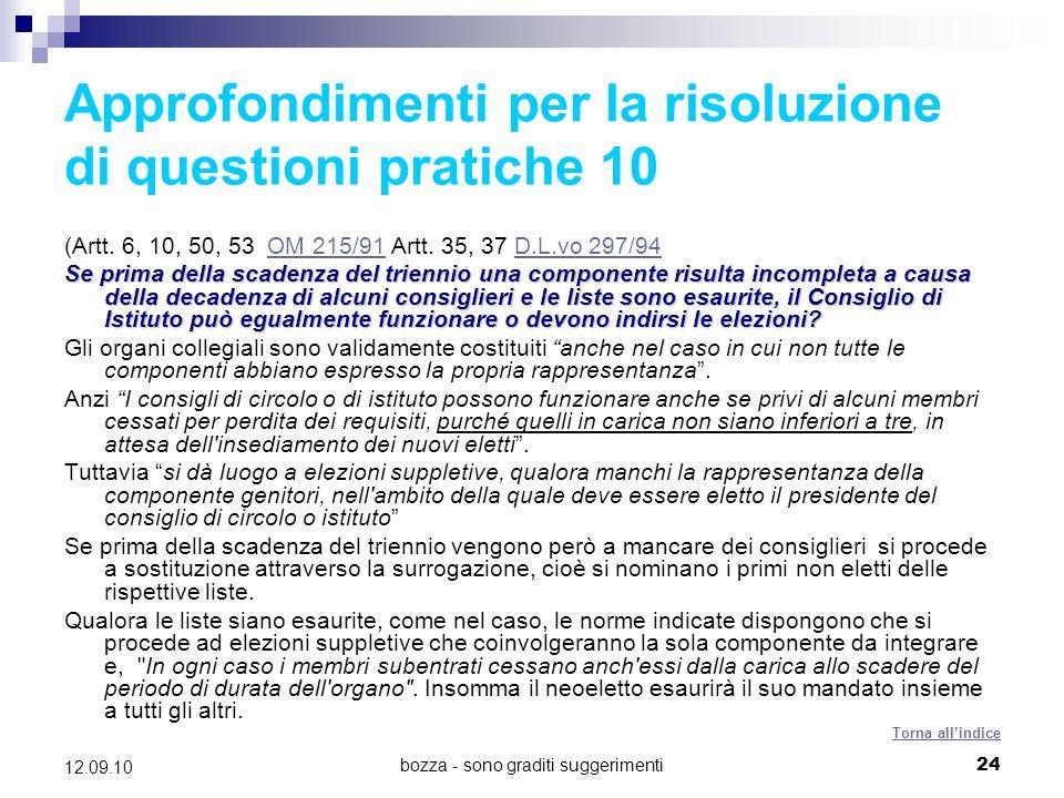 Approfondimenti per la risoluzione di questioni pratiche 10