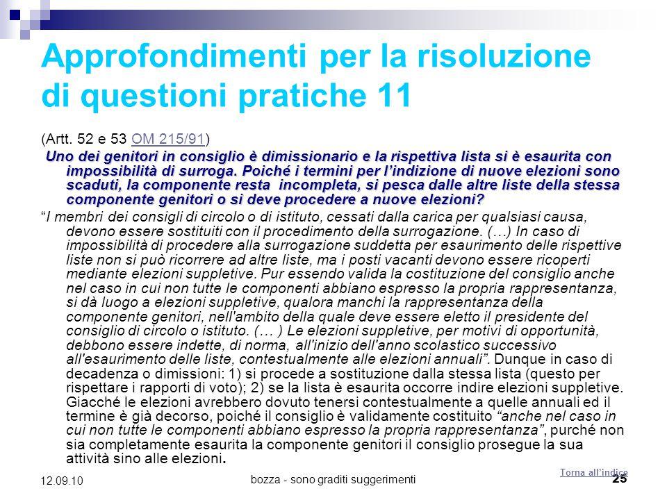 Approfondimenti per la risoluzione di questioni pratiche 11