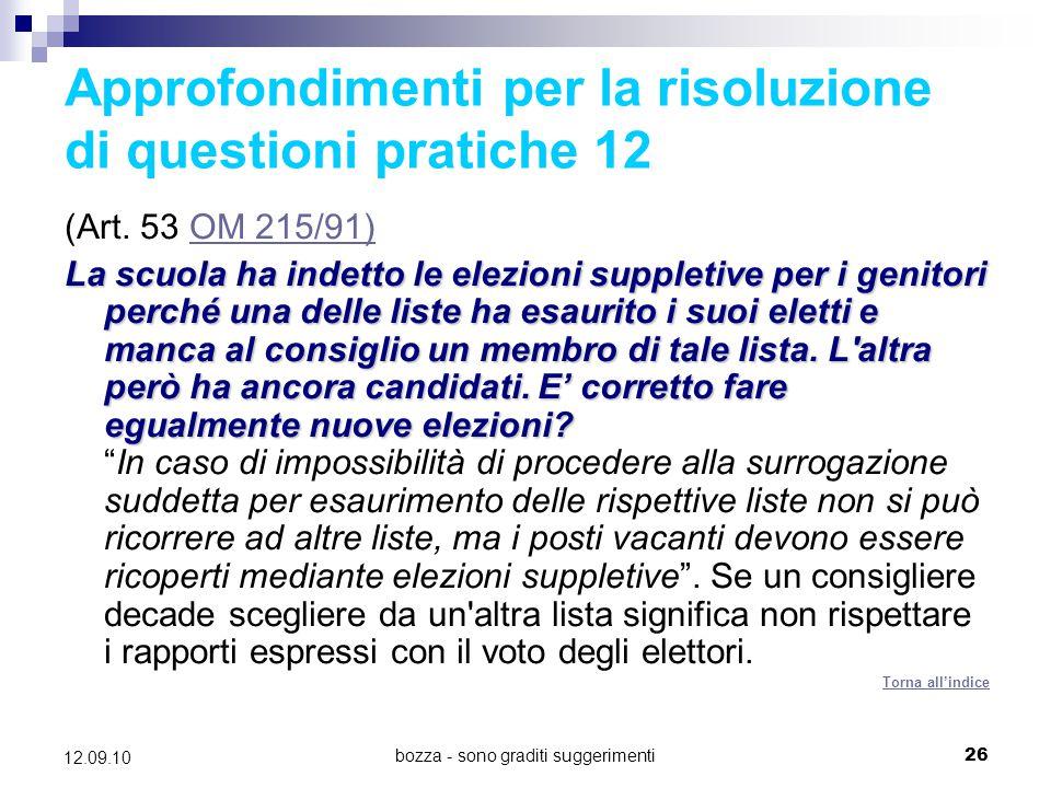 Approfondimenti per la risoluzione di questioni pratiche 12