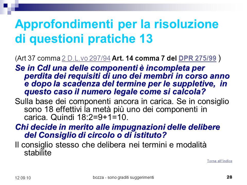 Approfondimenti per la risoluzione di questioni pratiche 13