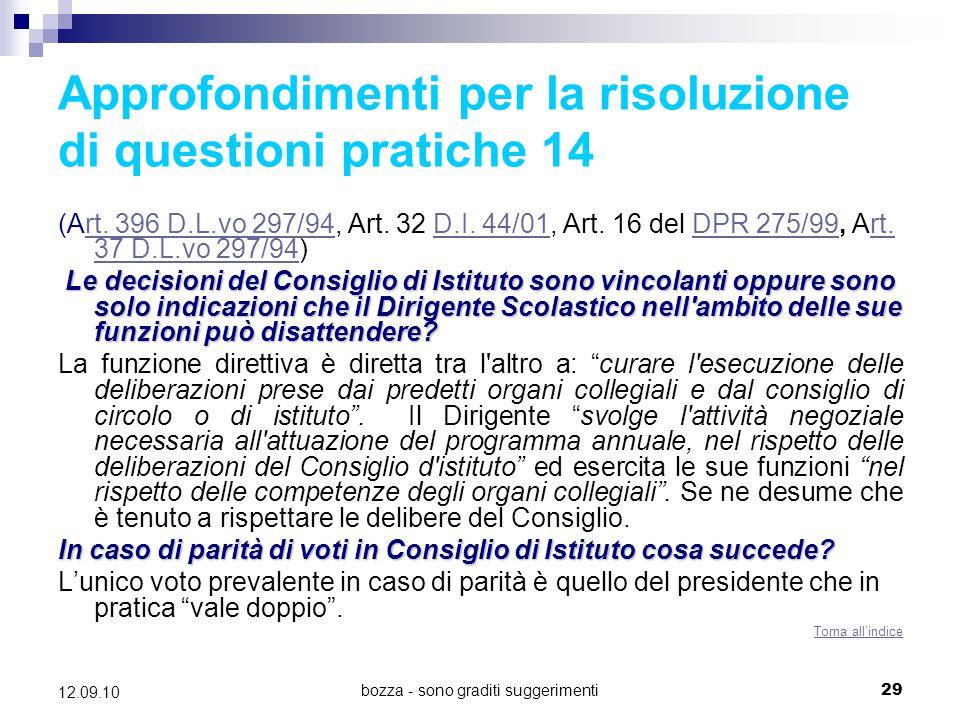 Approfondimenti per la risoluzione di questioni pratiche 14