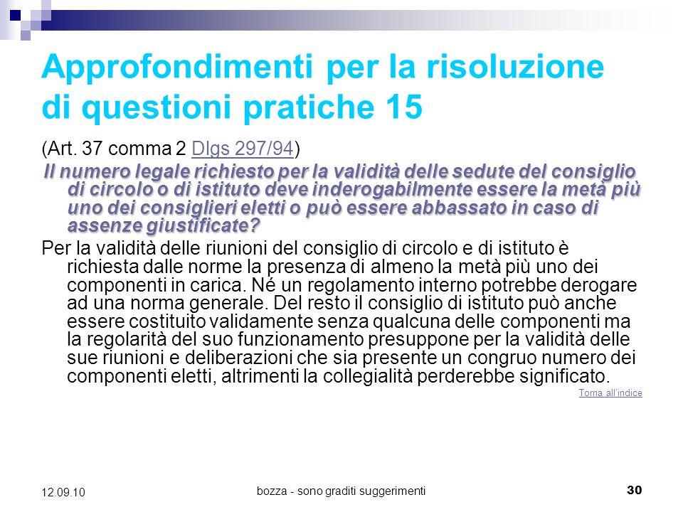 Approfondimenti per la risoluzione di questioni pratiche 15