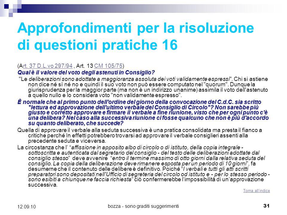 Approfondimenti per la risoluzione di questioni pratiche 16