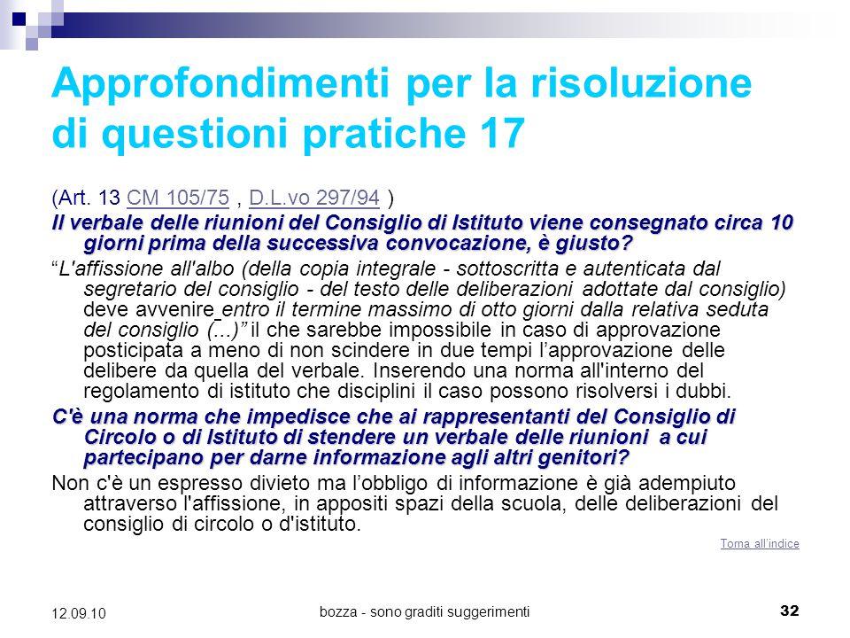 Approfondimenti per la risoluzione di questioni pratiche 17