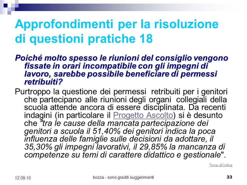 Approfondimenti per la risoluzione di questioni pratiche 18