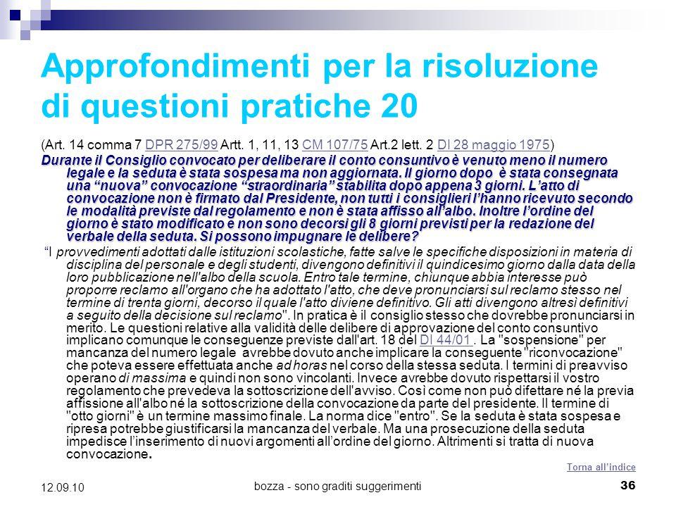 Approfondimenti per la risoluzione di questioni pratiche 20