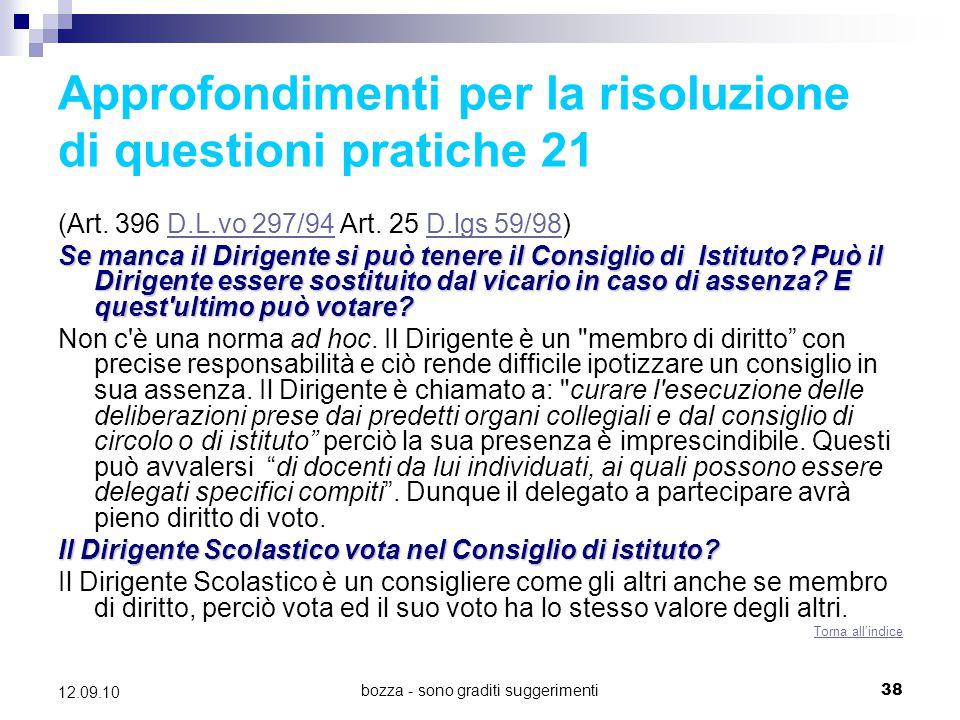 Approfondimenti per la risoluzione di questioni pratiche 21
