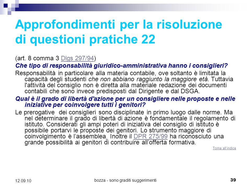Approfondimenti per la risoluzione di questioni pratiche 22
