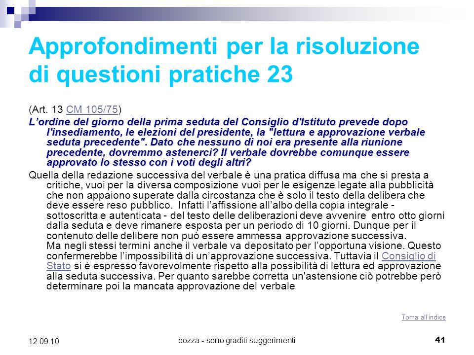 Approfondimenti per la risoluzione di questioni pratiche 23