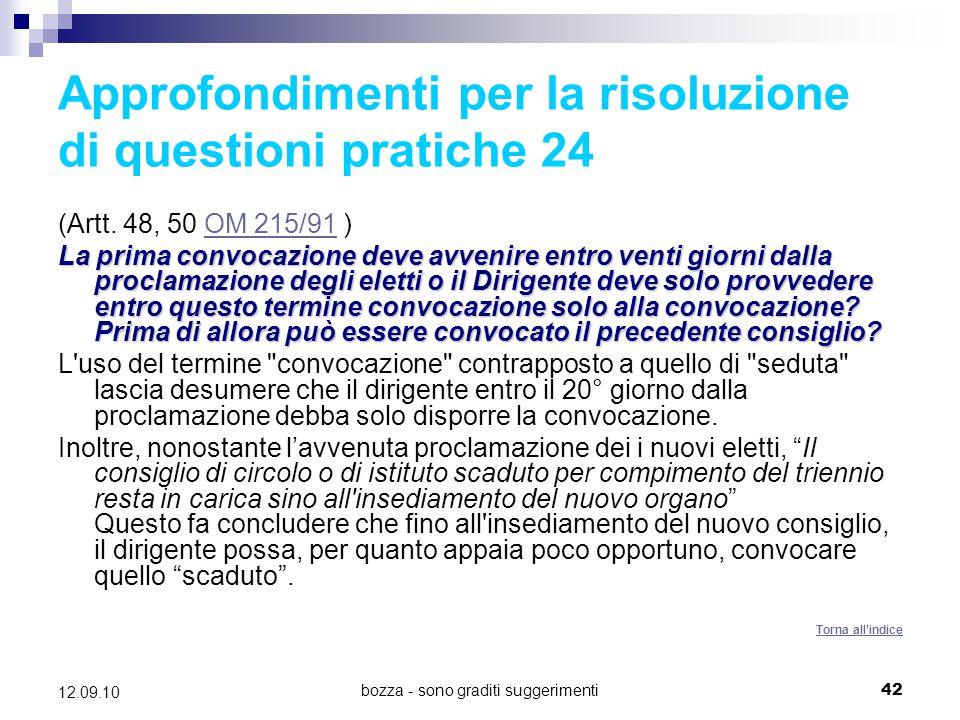 Approfondimenti per la risoluzione di questioni pratiche 24