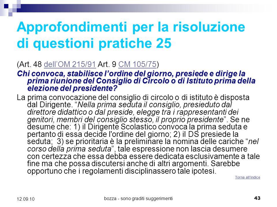 Approfondimenti per la risoluzione di questioni pratiche 25