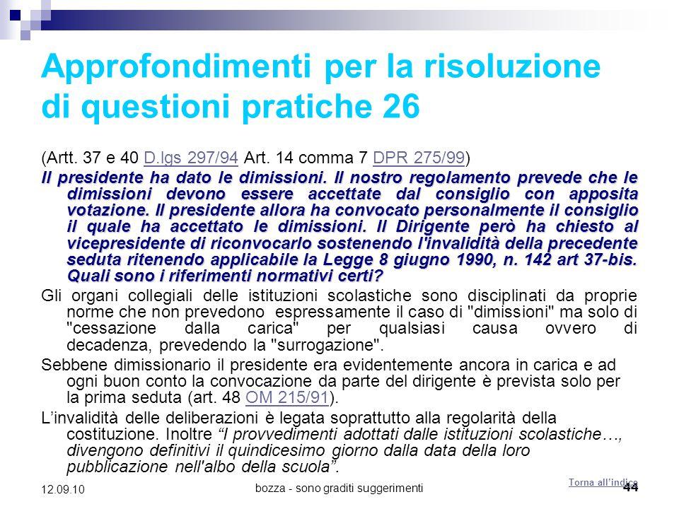 Approfondimenti per la risoluzione di questioni pratiche 26