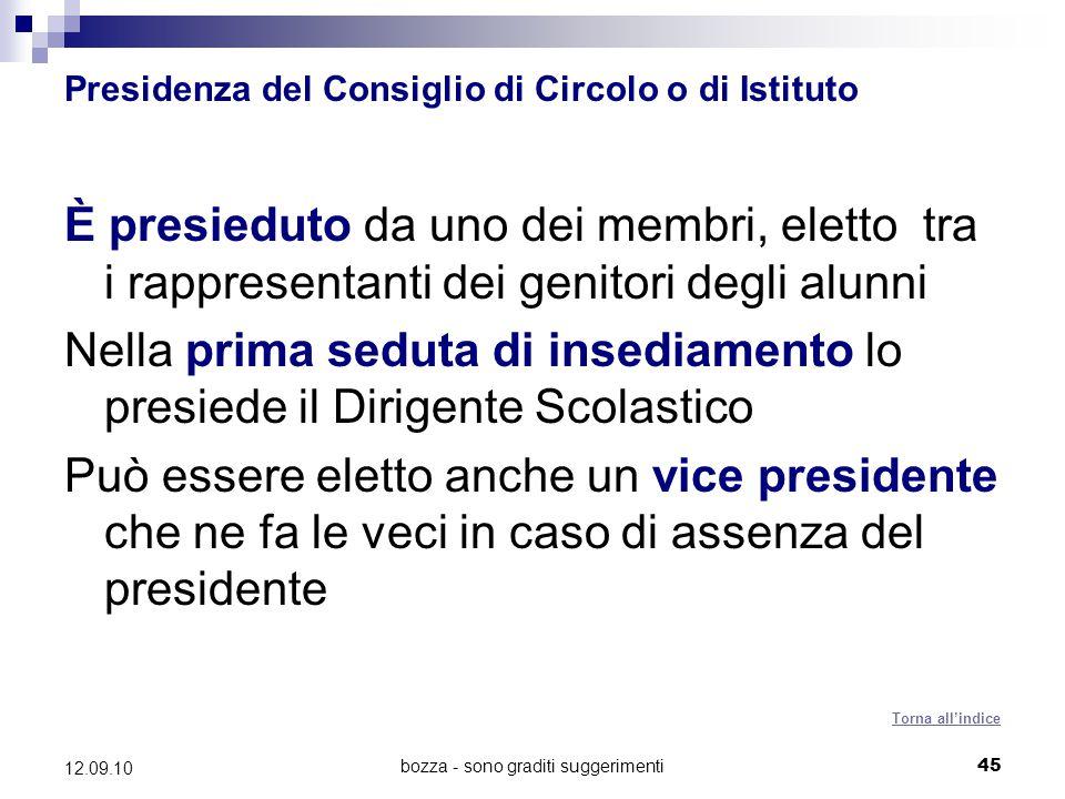 Presidenza del Consiglio di Circolo o di Istituto