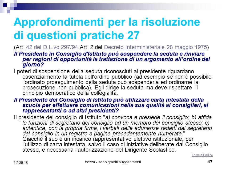 Approfondimenti per la risoluzione di questioni pratiche 27