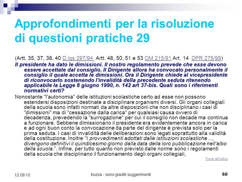 Approfondimenti per la risoluzione di questioni pratiche 29