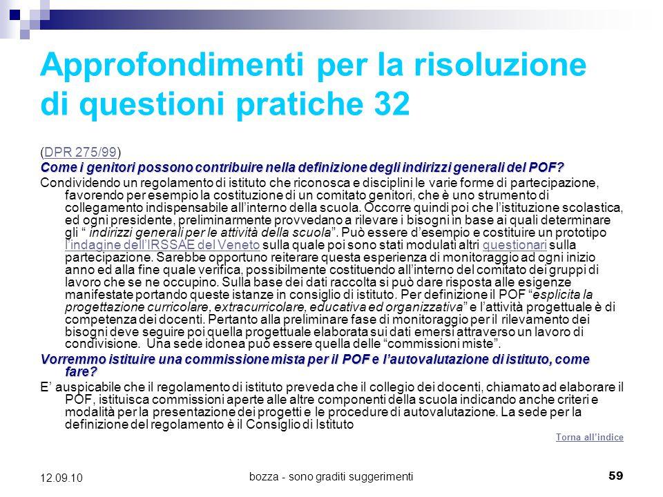 Approfondimenti per la risoluzione di questioni pratiche 32