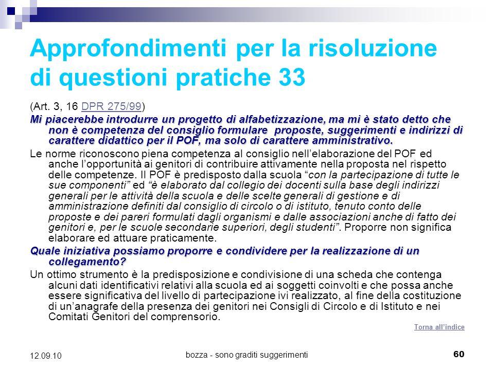 Approfondimenti per la risoluzione di questioni pratiche 33