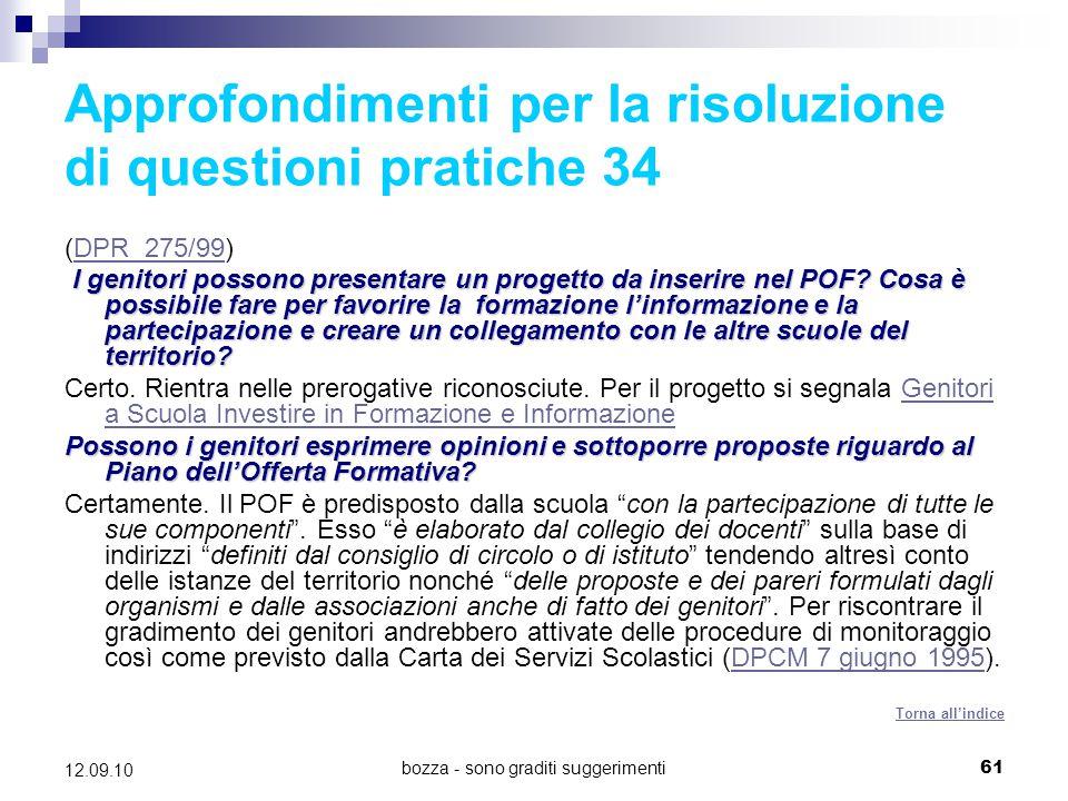 Approfondimenti per la risoluzione di questioni pratiche 34