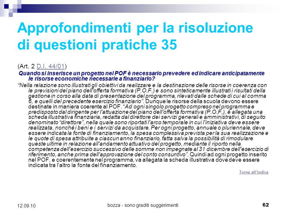 Approfondimenti per la risoluzione di questioni pratiche 35
