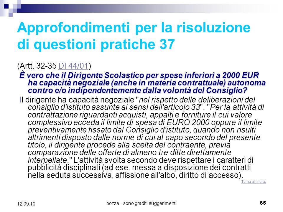 Approfondimenti per la risoluzione di questioni pratiche 37