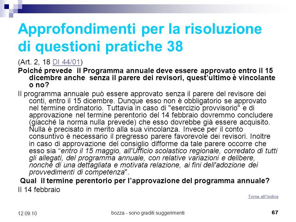 Approfondimenti per la risoluzione di questioni pratiche 38