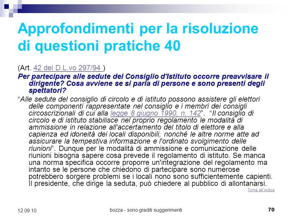 Approfondimenti per la risoluzione di questioni pratiche 40