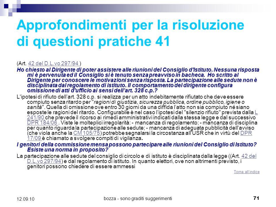 Approfondimenti per la risoluzione di questioni pratiche 41