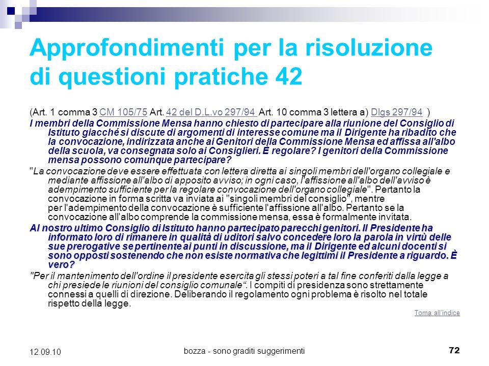 Approfondimenti per la risoluzione di questioni pratiche 42