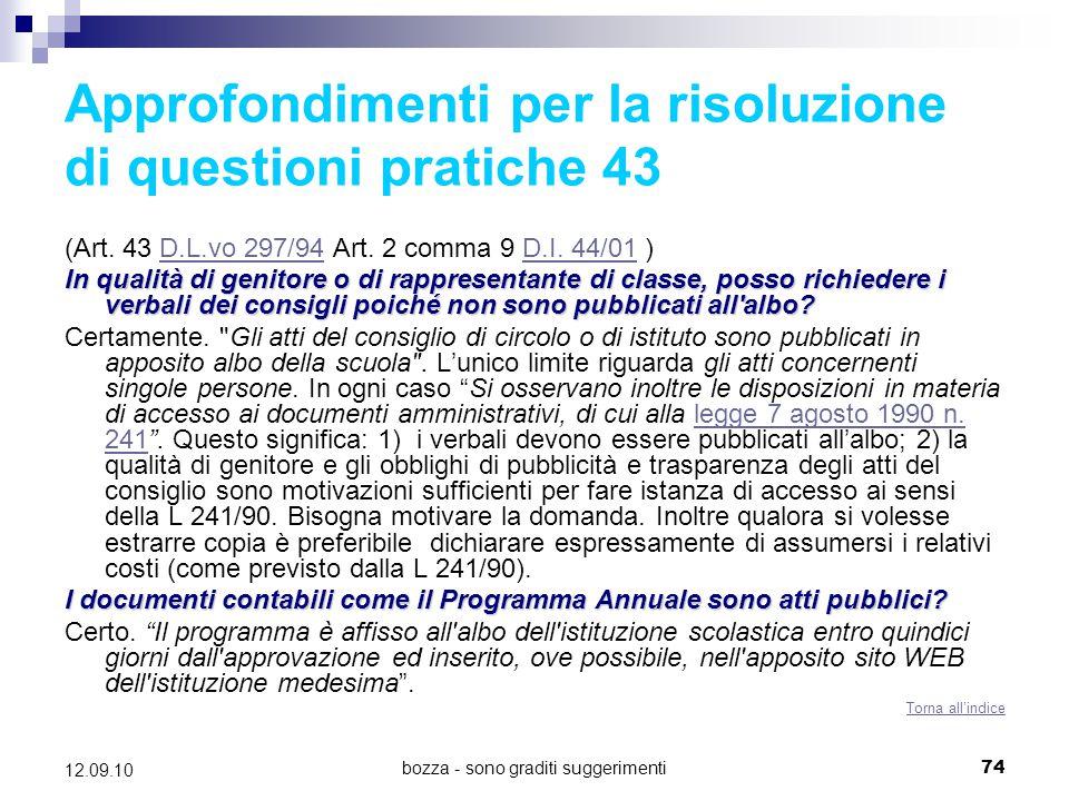 Approfondimenti per la risoluzione di questioni pratiche 43
