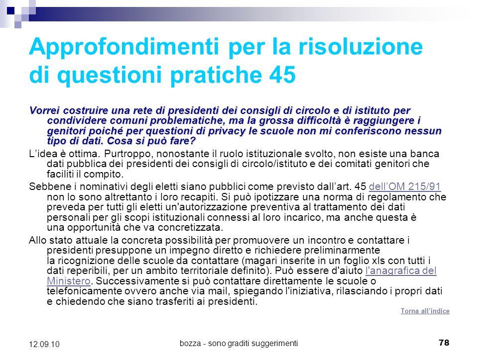 Approfondimenti per la risoluzione di questioni pratiche 45