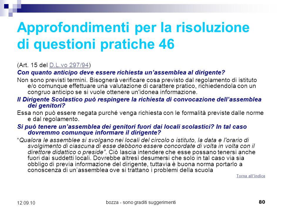 Approfondimenti per la risoluzione di questioni pratiche 46