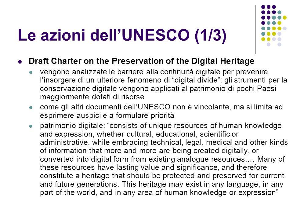 Le azioni dell'UNESCO (1/3)