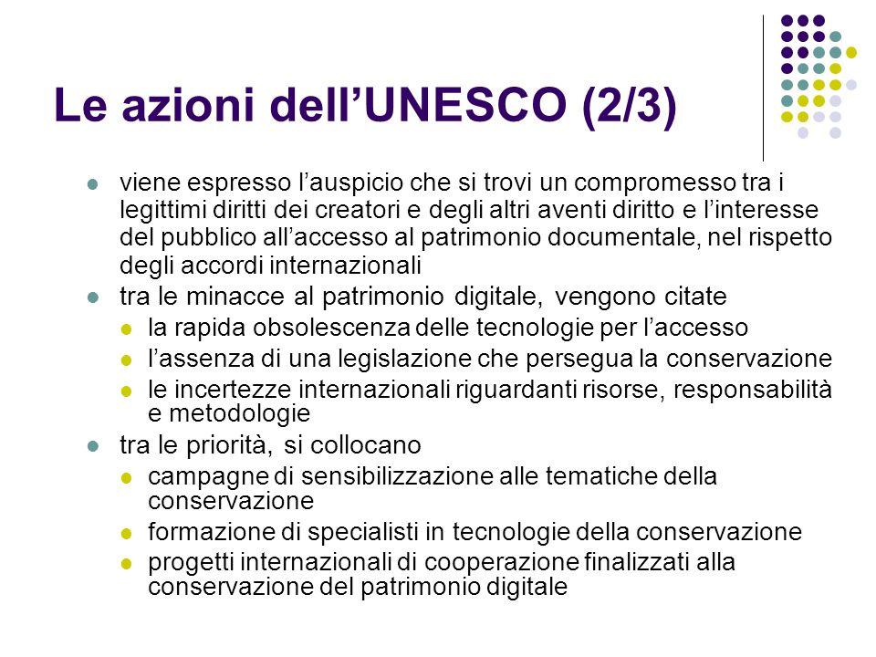 Le azioni dell'UNESCO (2/3)