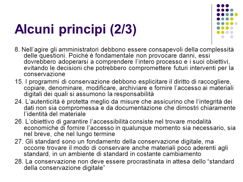 Alcuni principi (2/3)