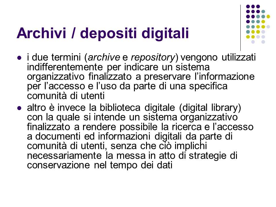 Archivi / depositi digitali