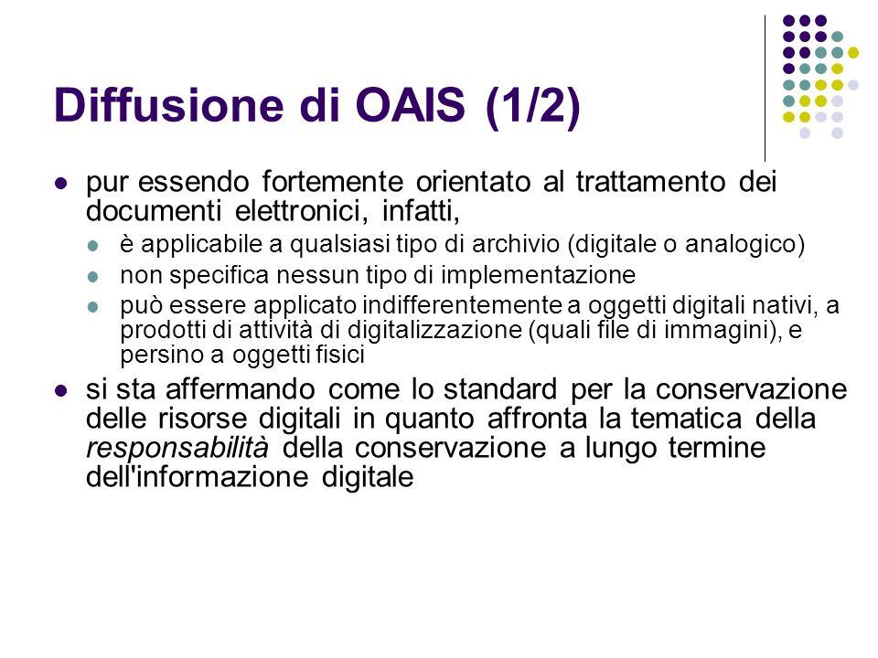 Diffusione di OAIS (1/2) pur essendo fortemente orientato al trattamento dei documenti elettronici, infatti,