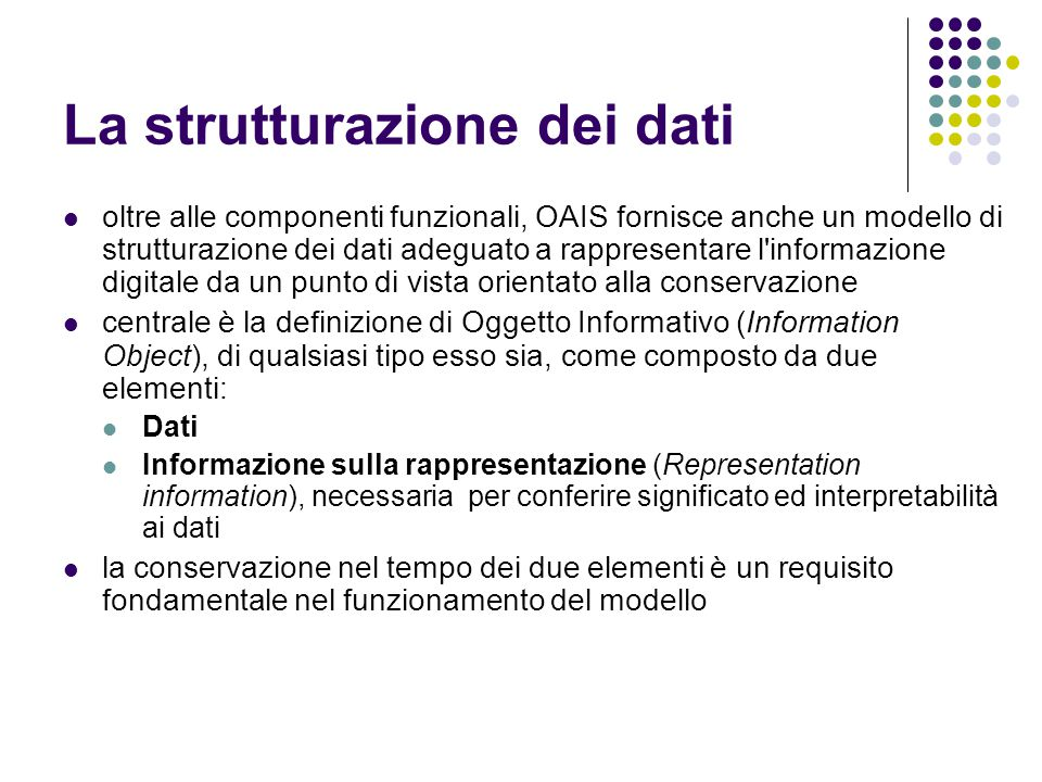 La strutturazione dei dati