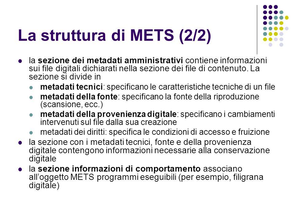 La struttura di METS (2/2)