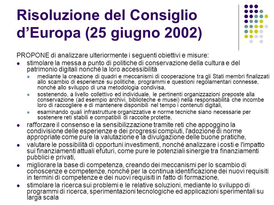Risoluzione del Consiglio d'Europa (25 giugno 2002)