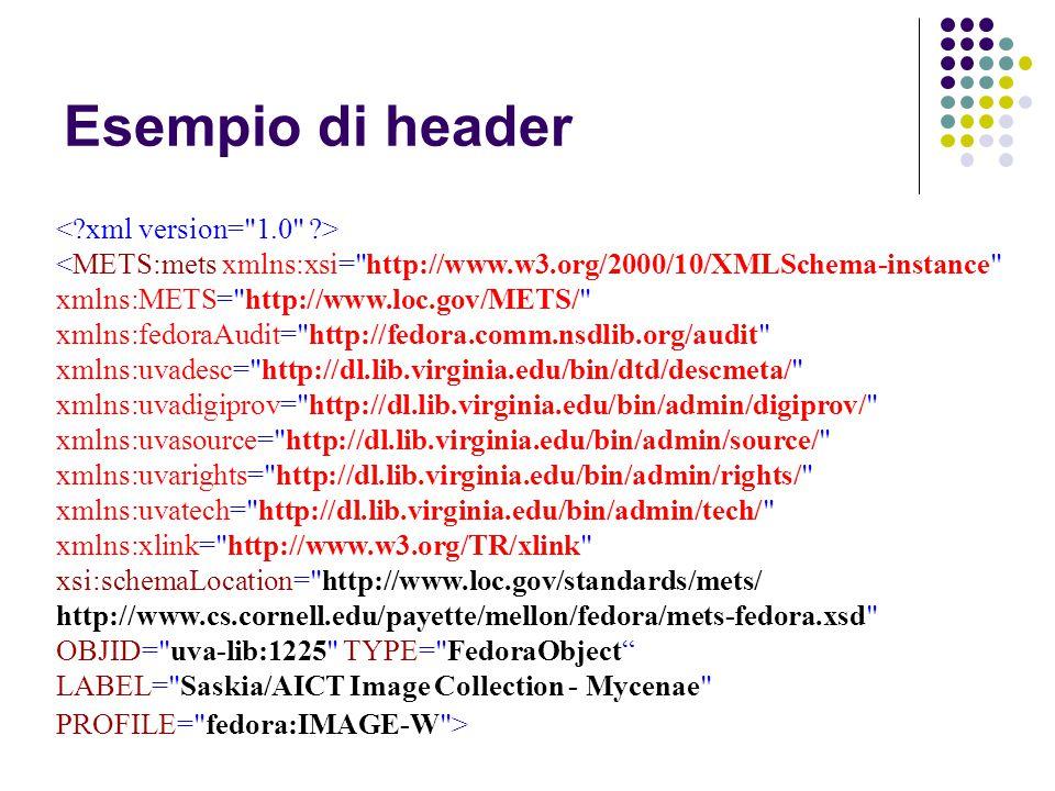 Esempio di header < xml version= 1.0 >