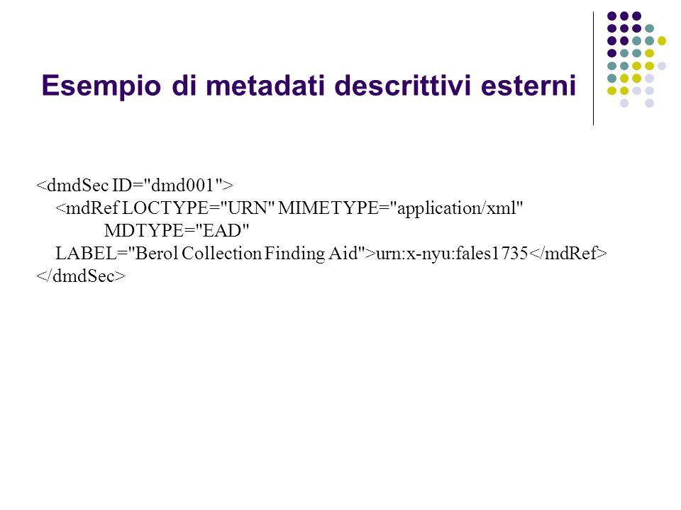 Esempio di metadati descrittivi esterni