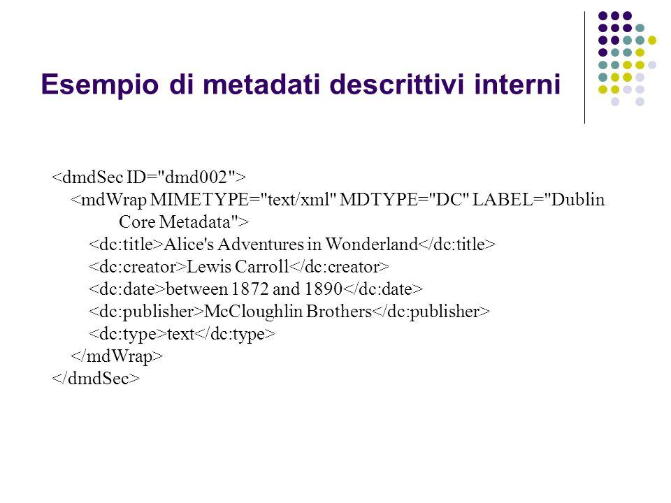 Esempio di metadati descrittivi interni