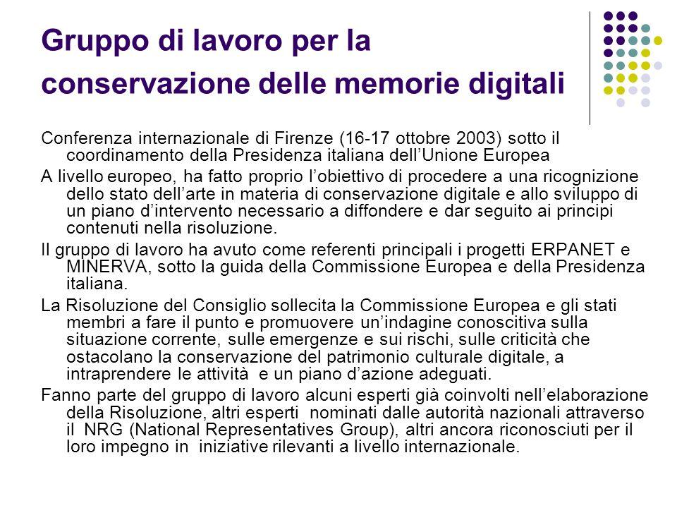 Gruppo di lavoro per la conservazione delle memorie digitali