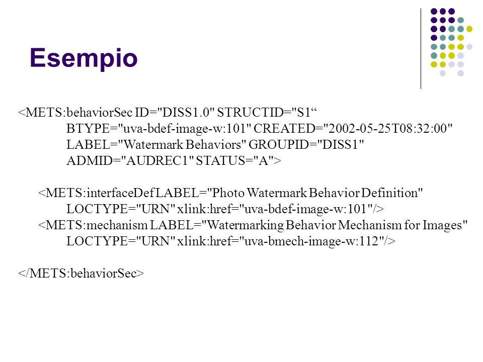 Esempio <METS:behaviorSec ID= DISS1.0 STRUCTID= S1