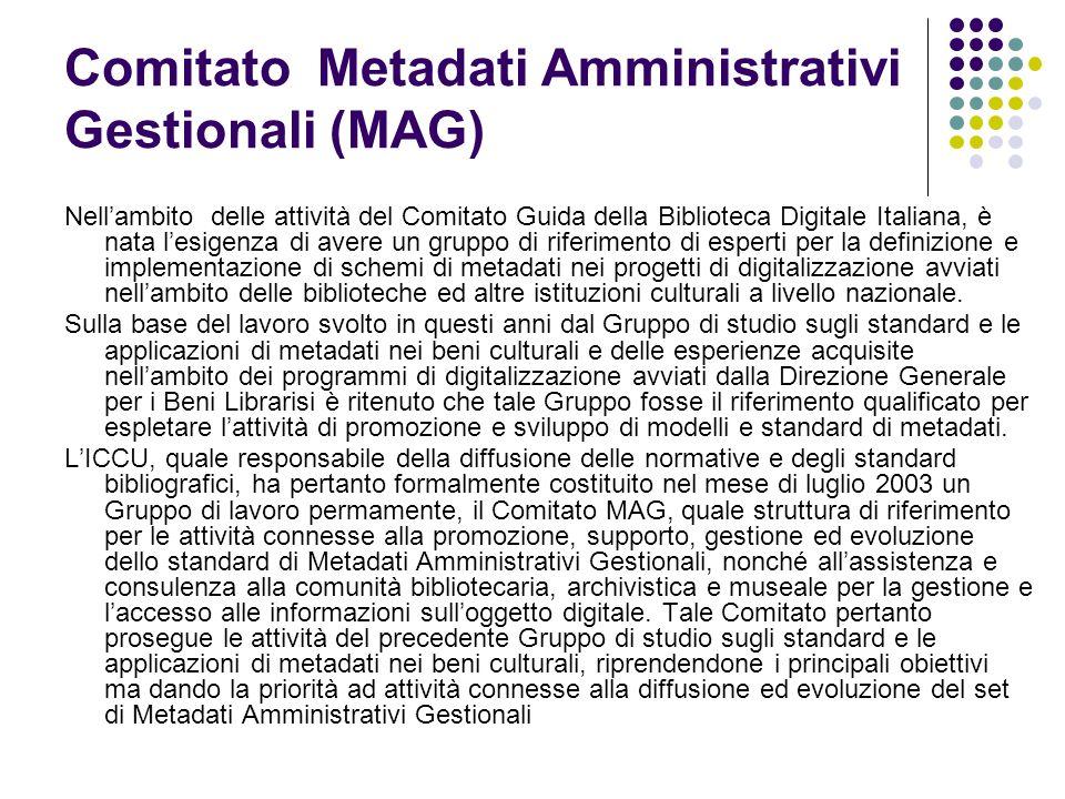 Comitato Metadati Amministrativi Gestionali (MAG)