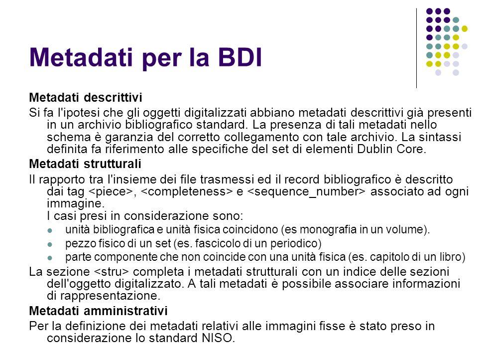Metadati per la BDI Metadati descrittivi