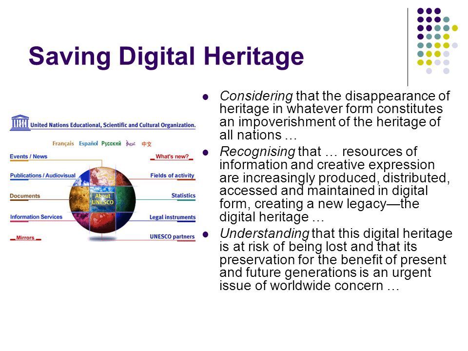 Saving Digital Heritage