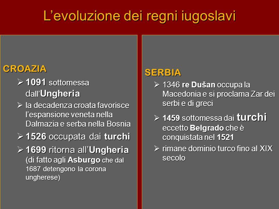 L'evoluzione dei regni iugoslavi